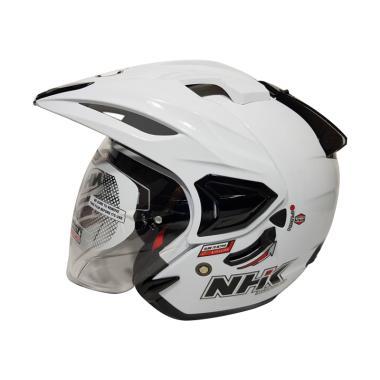 harga NHK Predator Crypton Double Visor Helm Half Face - White Blibli.com