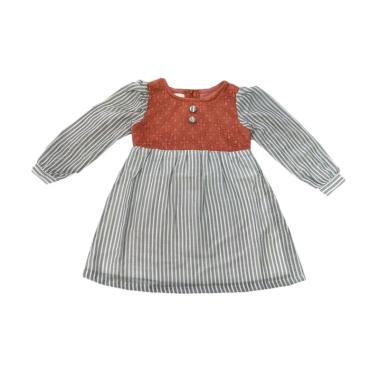 Tiny Button Garis Brukat Dress Anak - Abu Merah
