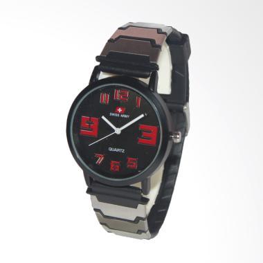 Swiss Army Stainless Steel Jam Tangan Pria - Black Red [ SAX 2013-10]