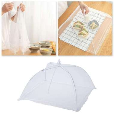 harga Tudung Saji Lipat Payung Transparan Transparant Foldable Mesh Cover Putih Blibli.com