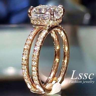 harga FREE ONGKIR Cincin Lapis Emas 18K Berlian Mahkota Titanium Anti Karat Wanita Perhiasan Blibli.com