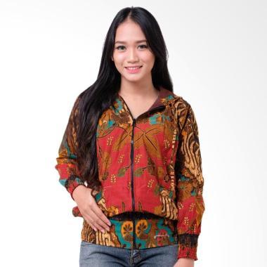 Batik Distro T1235 Jaket Batik Wanita - Merah