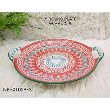 harga Round Plate With Handle Piring Keramik Nampan Saji