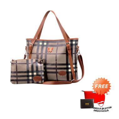 harga Azzurra 635-24 Shoulder Bag Wanita - Coklat + Free Bag Pouch or Dompet Kartu Blibli.com