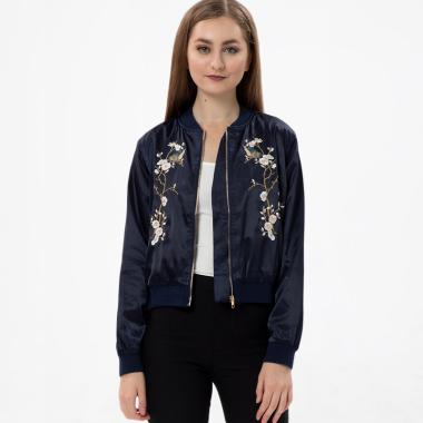 MKY Clothing Bird & Sakura Bomber Jacket - Navy