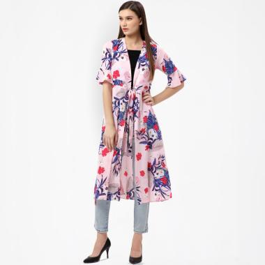 MKY Clothing Stripe Floral Long Kimono Cardigan Wanita