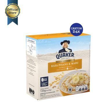 Quaker Pisang & Madu Instant Oatmeal [4 Sachets/ 1 Carton/ 24 pcs/ Kemasan Box] Free Voucher IDR 40,000