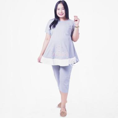 Mama Hamil Renda Putih Bintang Setelan Lengan Pendek Baju Hamil dan Menyusui e2f774d502