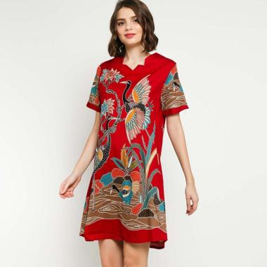 Batik Distro BA9504 Lukis Bangau Dress Wanita ...