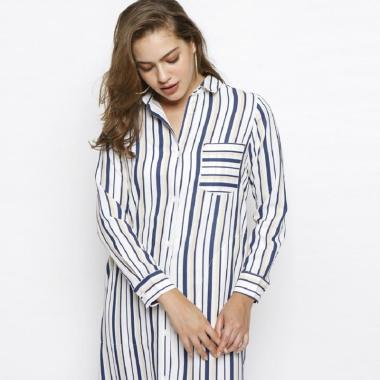Minimal Pocket Soulstripe Shirt Dress Wanita White Navy