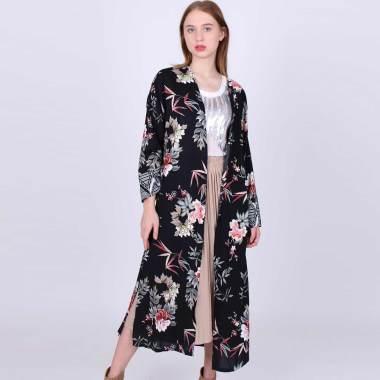 Magnolia 7723262919 Motif 1 Collection Floral Kimono Cardigan Wanita - Black
