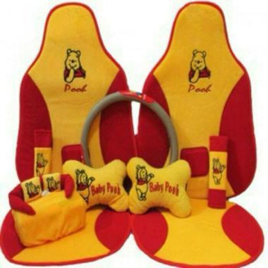 C2N Variasi Mobil Sandaran Motif Baby Pooh 5in1 Set Aksesoris Interior Mobil for Grand Vitara