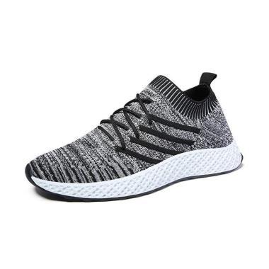 harga Sepatu Sneaker Ambigo Flying Knit Hitam Running Shoes Sepatu Sneakers Olahraga Pria Fitness Sepatu Lari Blibli.com