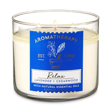 harga Bath and Body Works BBW Relax Aromatherapy 3 Wick Candle - Lavender Cedarwood Blibli.com