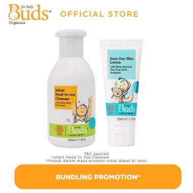 harga Buds Save Our Skin / First Aid Lotion Soothing [50 mL] & Infant Head To Toe Cleanser [225 mL/ Set Bundle] Blibli.com