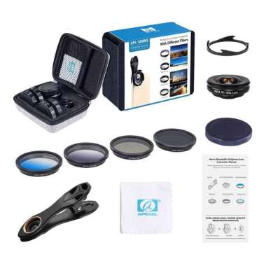 harga APEXEL 2 in 1 Lensa Wide Angle + Macro + 4 Filter Lens Kit - APL-16MMS - Hitam Blibli.com