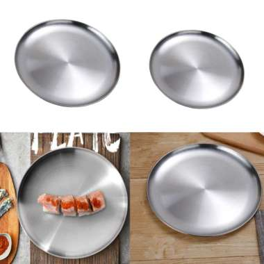 harga 2x Stainless Steel Flat Dish Plate Insulated Thick Platter for BBQ 14 + 26cm - Blibli.com