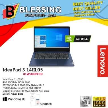 harga LENOVO IdeaPad Slim 3 14IIL05 81WD00PHID Ci3-1005G1 4GB 512GB MX330 2GB W10 HOME +OHS 2019 Abyss Blue Blibli.com