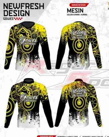 harga [Pre Order 14 Hari] Regarsport Gowes MESIN Jersey Sepeda Pria Custom L Kuning Blibli.com