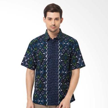 Asana Tenun Short Sleeves Batik Pria - Blue