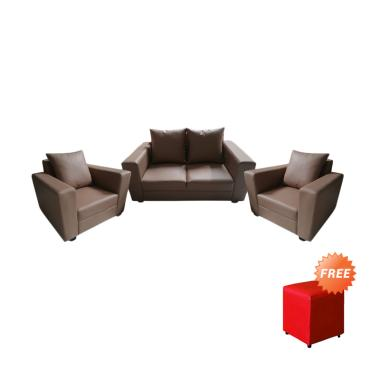 FCENTER Sofa 211 Verbena Coklat + FREE PUFF JABODETABEK
