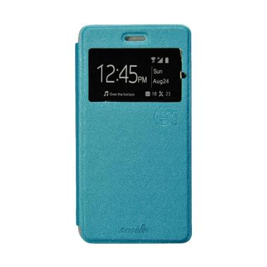 Smile Flip Cover Casing for Vivo V5+-X9 - Biru Muda