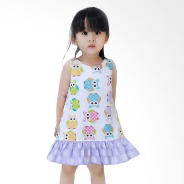 Minimi Colorfull Owl Dress Anak - Putih