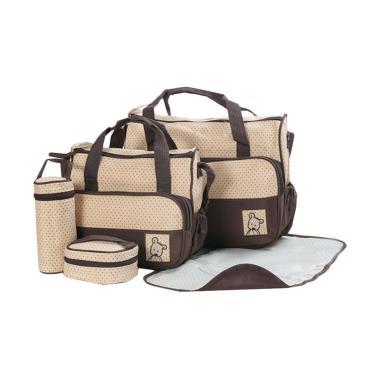 New 5 in 1 Multifunctional Baby Bag Diaper Bag - Brown