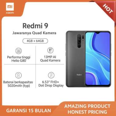 harga XIAOMI Redmi 9 4GB/64GB- Grey 13MP Quad Kamera Helio G80 Layar 6.53 FHD+ Baterai 5020mAh Garansi Xiaomi resmi Blibli.com