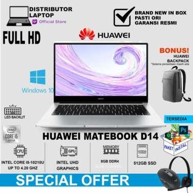 Huawei Matebook D14 + BACKPACK (i5-10210U/8GB/512GB/WIN10) SILVER SILVER NON BUNDLING