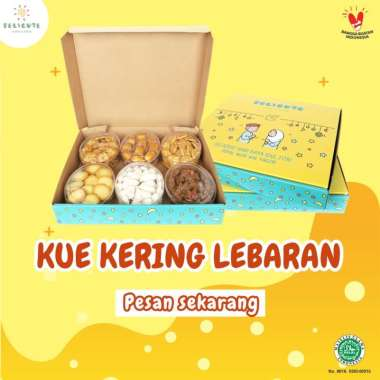 Paket Kue Kering Lebaran Delicute isi 6 ( Kue Nastar, Kue Kacang, Kue Kastangel, Kue Lidah Kucing, Kue Coklat Spikel, Kue Putri Salju)