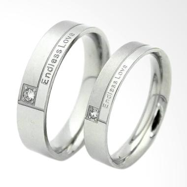 CDHJewelry Cincin Couple Titanium Anti Karat CC002 (Female 6 & Male 8)