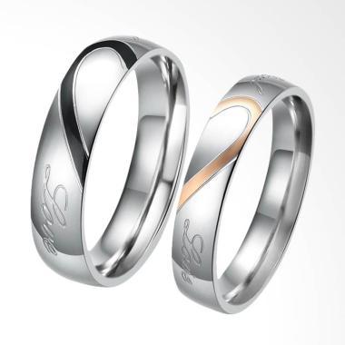 CDHJewelry Cincin Couple Titanium Anti Karat CC003 (Female 5 & Male 9)