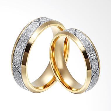 CDHJewelry CC091 Titanium Anti Karat Cincin Couple [Female 6 & Male 9]