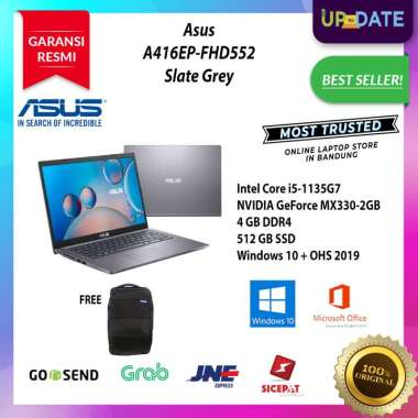 harga Asus A416EP-FHD551/FHD552 - Notebook - [Intel Core i5-1135G7 / 4GB DDR4 / 512GB SSD / MX330 2GB / 14