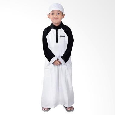 BajuYuli Gamis Koko Raglan Pakaian Anak Laki-laki - Putih Hitam