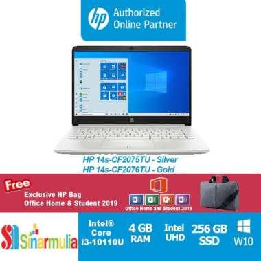 harga Laptop HP 14s-CF2075TU/CF2076TU i3-10051G1 256GB SSD 4GB FHD WIN10+OHS Gold Blibli.com