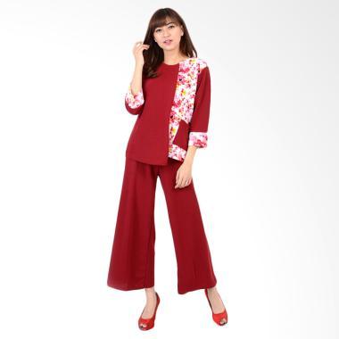 Jfashion Stelan Celana Kulot Plus Atasan Kombinasi wanita Tangan 7/8 - Nagita Merah