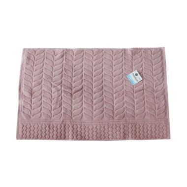 Terry Palmer Motif Daun Keset Handuk - Pink [70 x 45 cm]