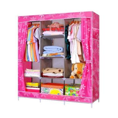 Big Space Lemari Pakaian Portable Wardrobe Pink Flower
