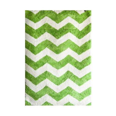 Vision Soft Shaggy Chevron Karpet - Green White [160 x 220 cm]