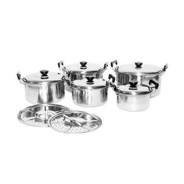 Homelux Panci set Stainless with Steamer [12 pcs]