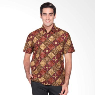 Batik Waskito Short Sleeve Shirt Kemeja Batik Pria - Red