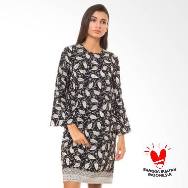 Batik Flike Store Dress Wanita Bell Sleeve Dress Black Leaf