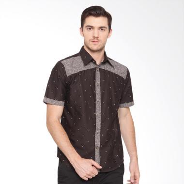 A&D Fashion Mens Shirt Short Sleeve Kemeja Pria - Brown [Ms 898]