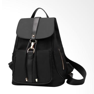 Martinversa TR7 Kanvas Nylon Impor Backpack Tas Ransel Wanita - Black