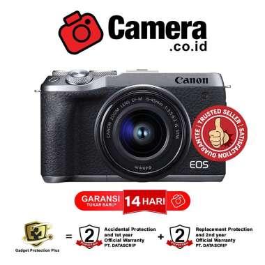 harga Camera.co.id - Canon EOS M6 Mark II Kit EF-M15-45mm f/3.5-6.3 IS STM - Kamera Mirrorless silver Blibli.com