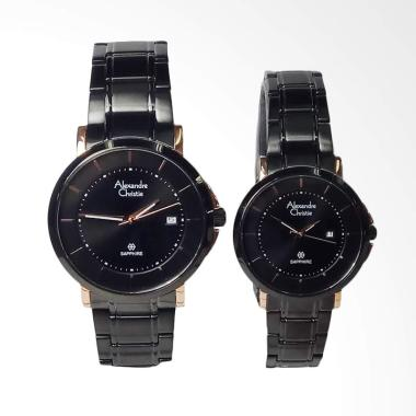 Alexandre Christie Sapphire Stainless Steel Jam Tangan Couple - Black Rosegold [AC8545MD/LD]