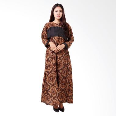 Batik Distro BA8760 Gamis Lengan Panjang Wanita - Coklat