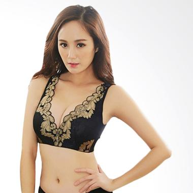 SABRAINE Sexy Lace Deep V Wireless Push-up Bra - Black [C Cup]
